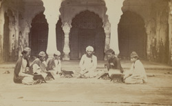 A moulvi and his pupils studying Arabic, Agra
